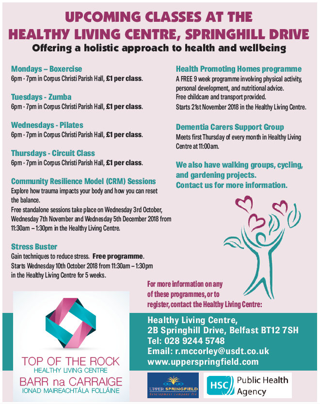 Class timetable at Healthy Living Centre
