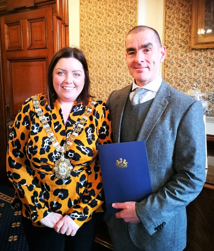 Belfast Lord Mayor Deirdre Hargey and CEO Donal McKinney of Upper Springfield Development Trust