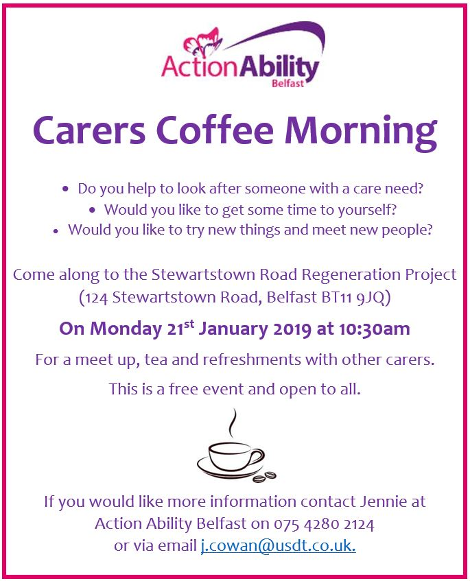 Carers Coffee Morning 21st January 2019