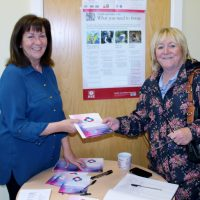 Healthy Living Centre manager, Rosie McSorley (left), provides Linda Butler with info on health and wellbeing courses at the centre.